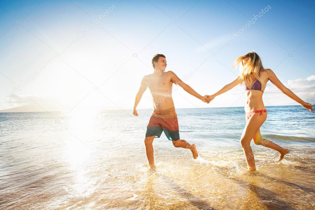 Happy couple on a tropical beach