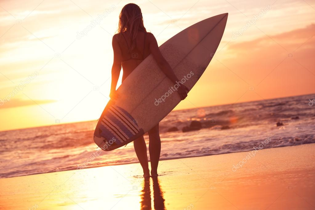 Silhouette surfer girl