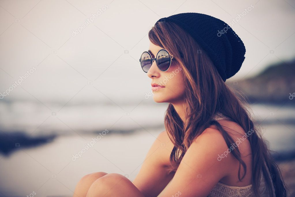 Young fashion hipster woman