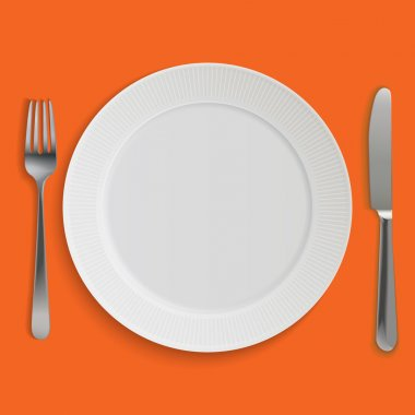 Empty realistic dinner plate, knife and fork
