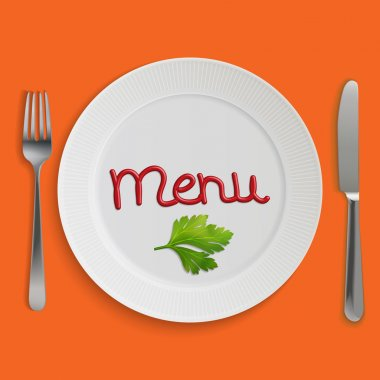 Menu card with plate, fork and knife