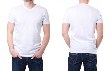 White t shirt on a young man template