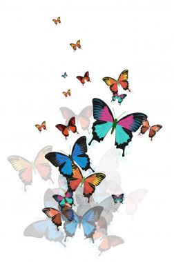 Colored abstract background with butterflies vector.