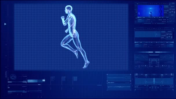 X-ray human body of a man with skeleton running