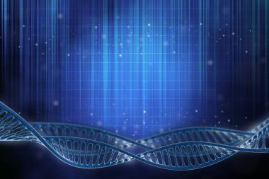3D illustration of a DNA frame in beautiful blue background