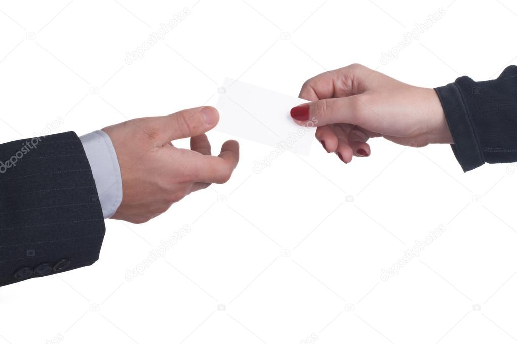 exchange business cards between a man and a woman — Stock Photo ...