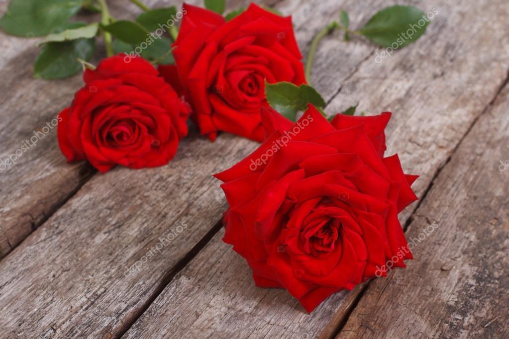 Schone Blumen Rote Rosen Auf Dem Alten Holz Hintergrund Stockfoto