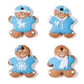 Four gingerbread man isolated on white background