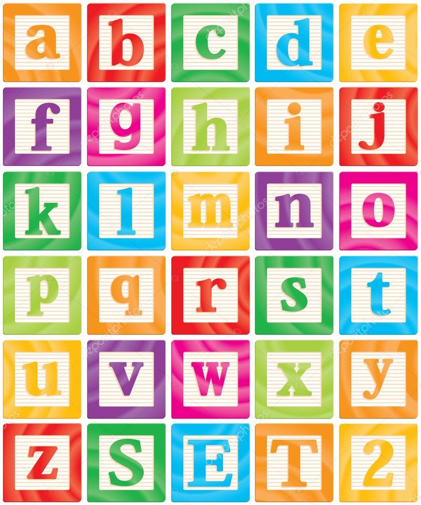 Vector Baby Blocks Set 2 Of 3 - Small Letters Alphabet — Stock