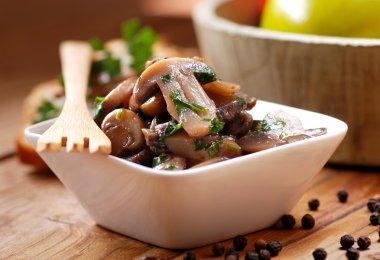 sauteed mushrooms photographed in closeup