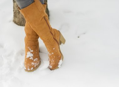 Closeup on woman legs in winter boots on snow