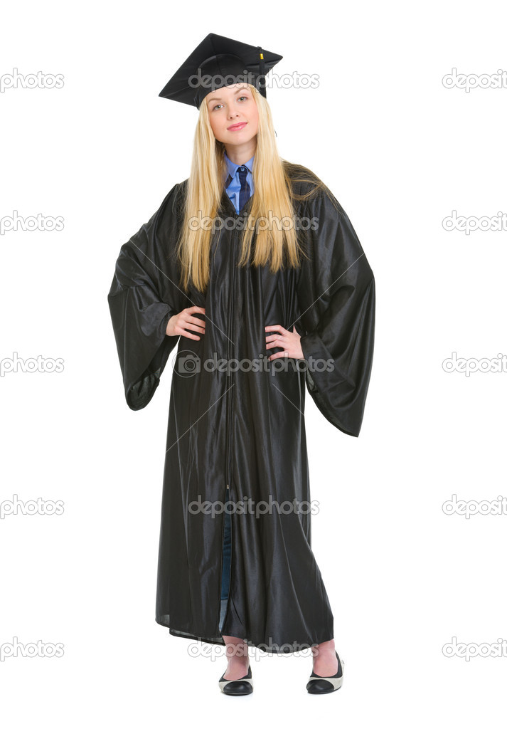 Full length portrait of happy young woman in graduation gown — Stock ...
