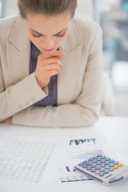 Concerned business woman working