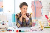 Thoughtful seamstress