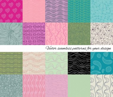 Big collection of abstract vector seamless patterns