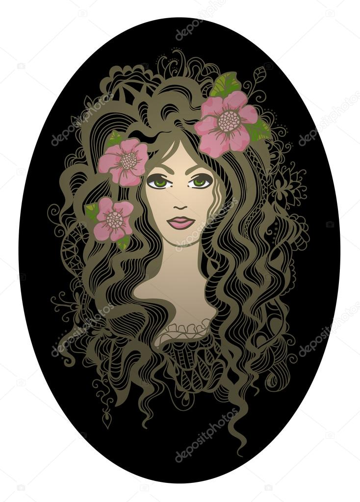 Creative oval vector illustration. Beautiful hand drawn girl wit