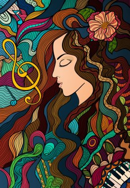 Colorful contrast hand drawn girl and melody. Vector background
