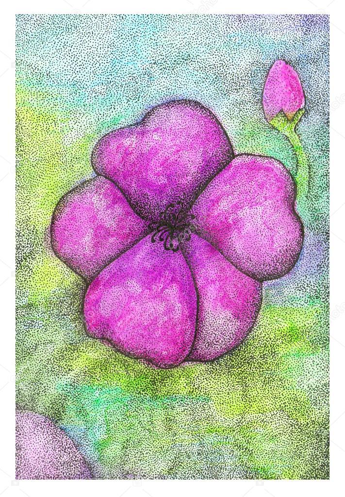 Noktalı Tekniği Renkli Sulu Boya Ve Mürekkep Kalem çiçek Stok Foto