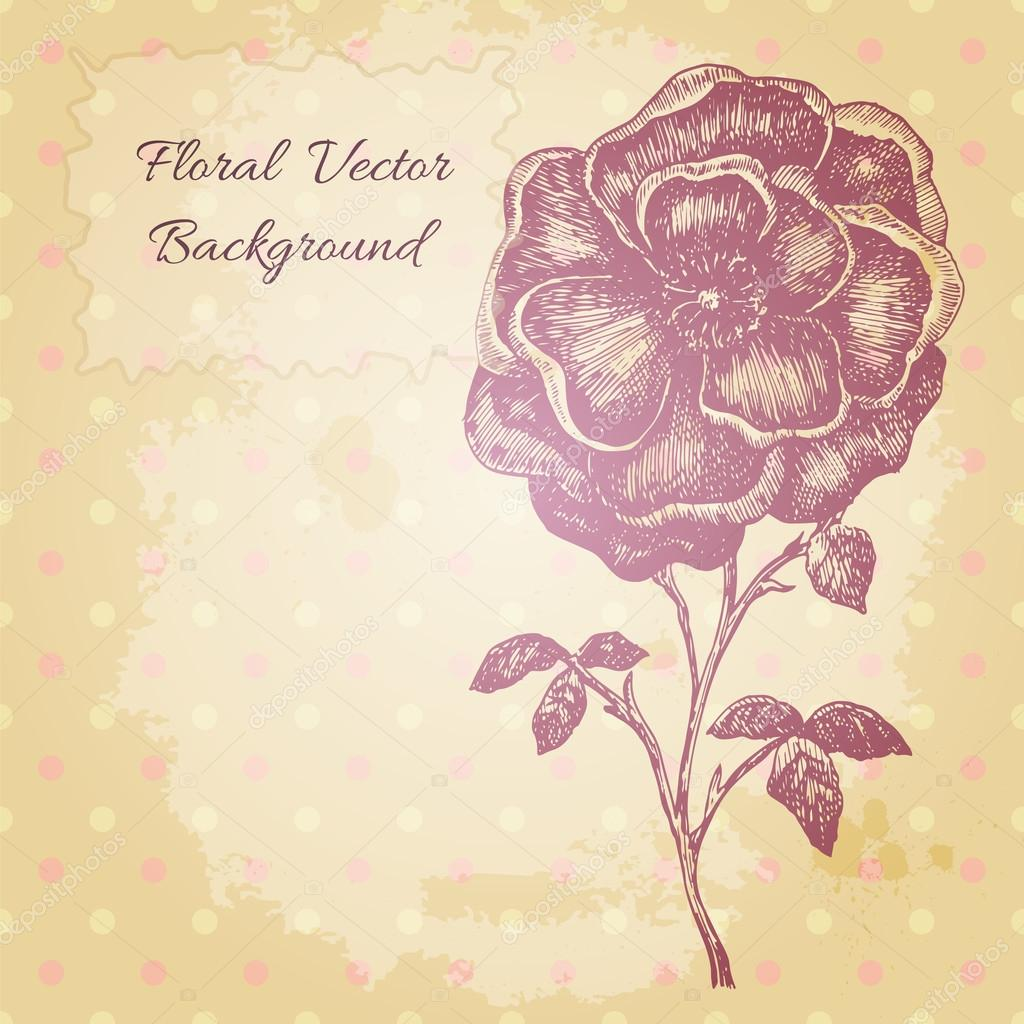 Vector vintage background with a beautiful hand drawn flower.