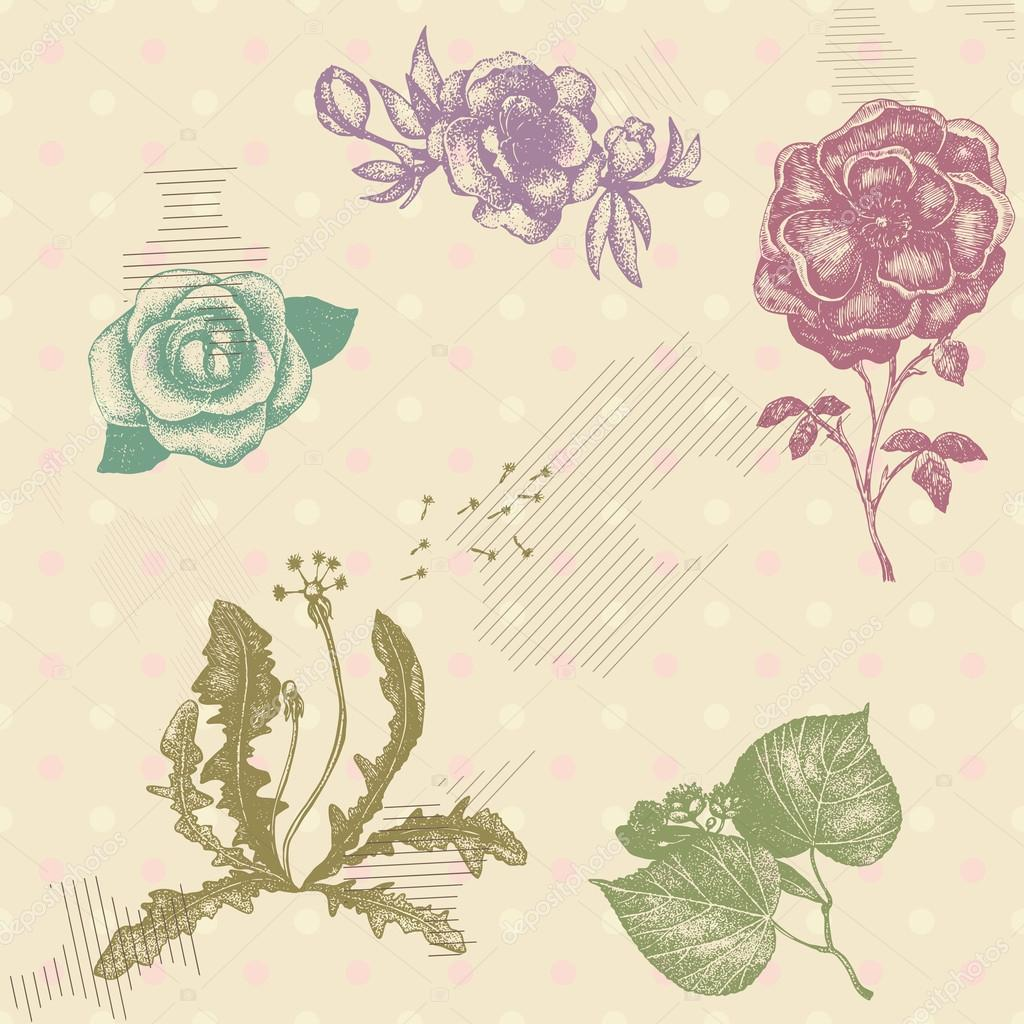 Retro vector seamless pattern with hand drawn artistic flowers o