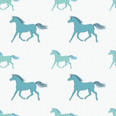 Vector seamless pattern with retro colored horses