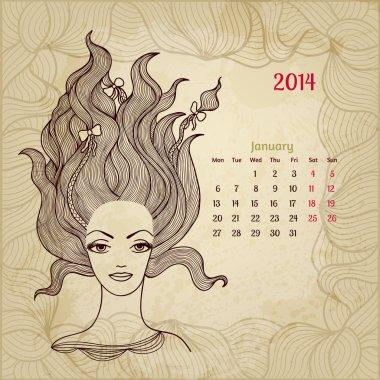 Artistic vintage calendar for January 2014.