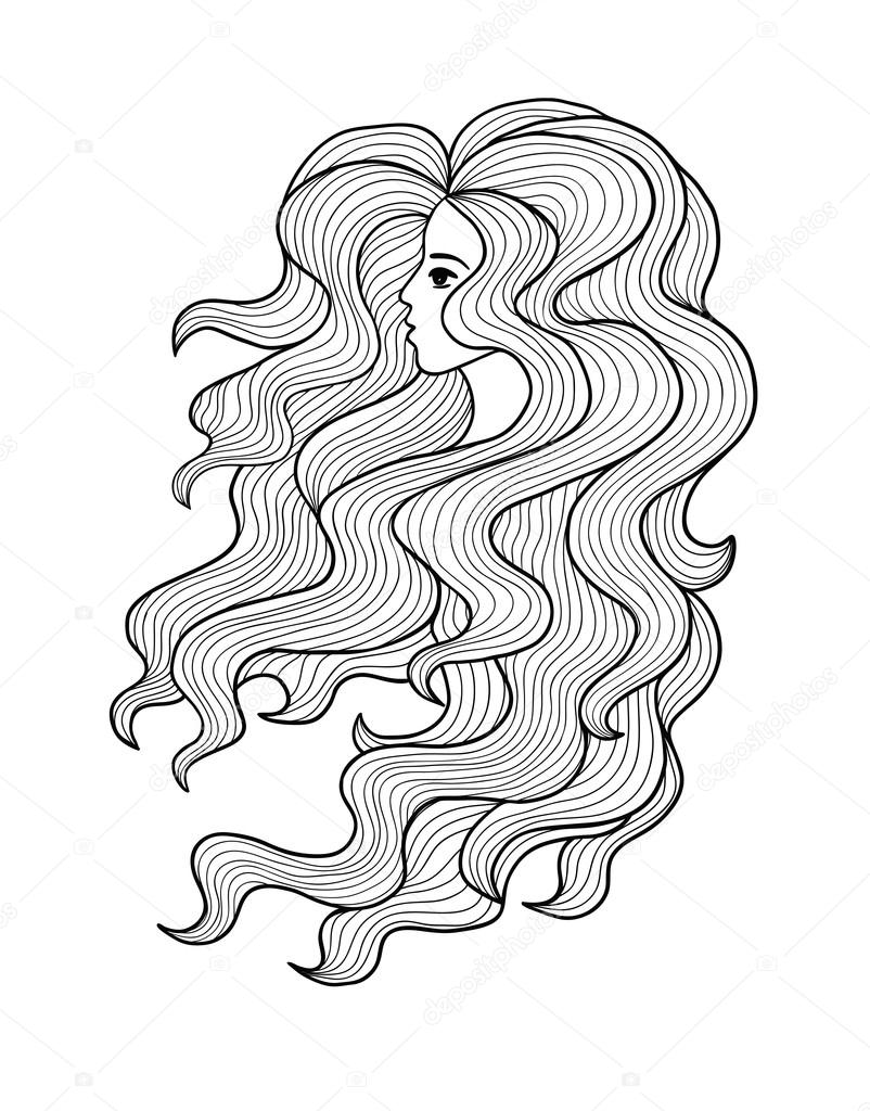 Black And White Vector Girl With Long Curly Hair Stock Vector