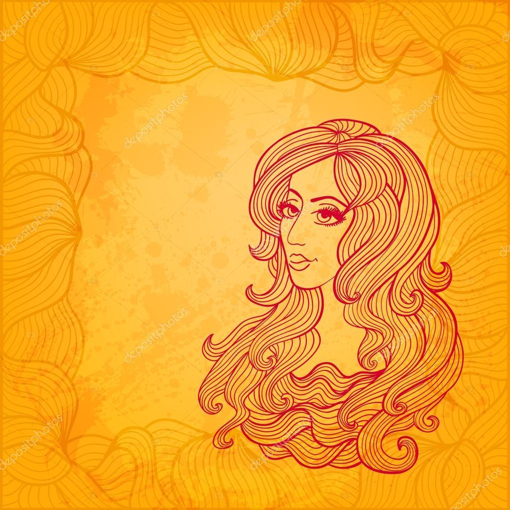 美しい少女芸術的なベクトル イラスト ストックベクター Solveig