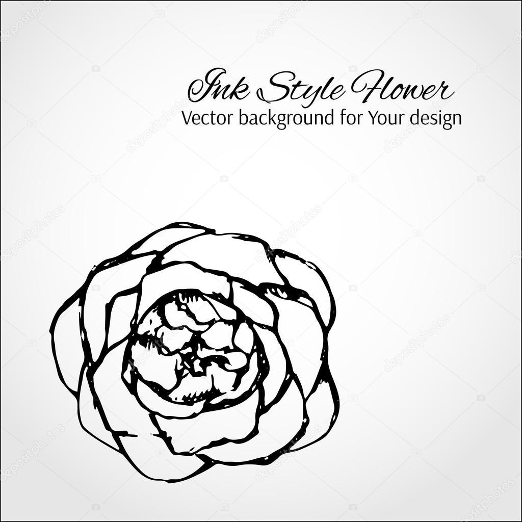 Tinte Stil Blume. elegante Vektor-Karte für Ihr design — Stockvektor ...