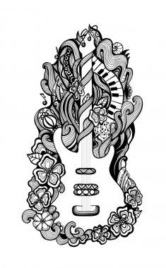 Decorative stylized vector hand drawn guitar and flowers