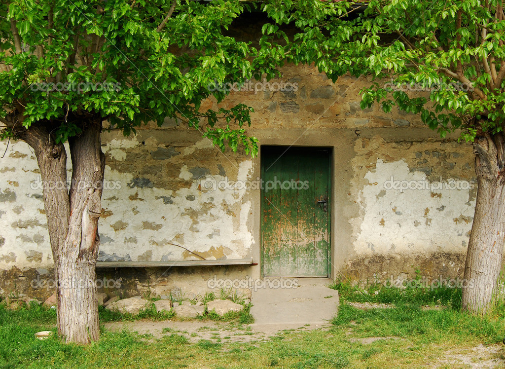 Old Country House Wooden Back Door Trees Stock Photo Varbenov1