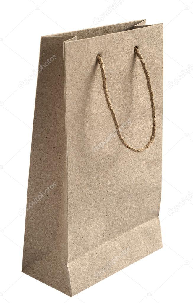 bolsa de papel reciclada con cuerda de camo asas aisladas sobre fondo blanco foto de varbenov1 - Cuerda Caamo