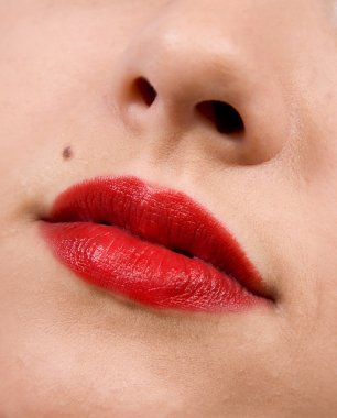 Female lips close up. Red color