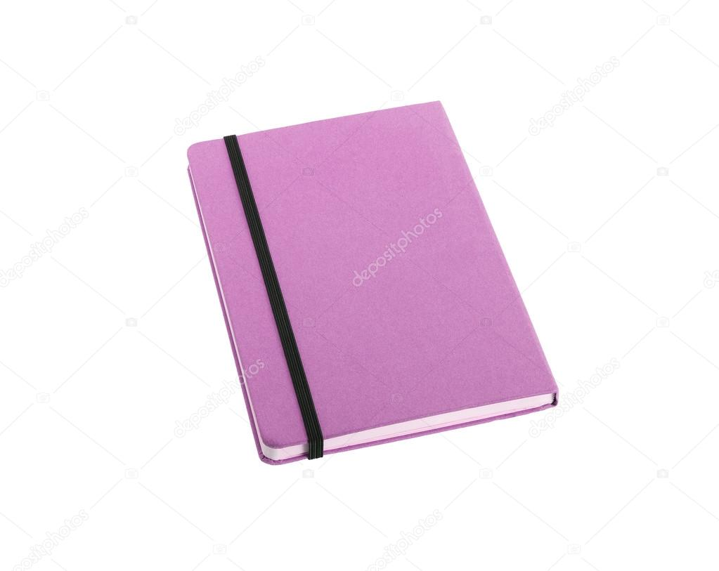 libro de nota de tapa de seda color púrpura aislado sobre fondo ...
