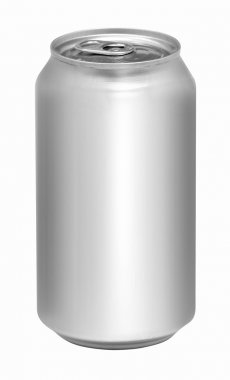 Blank aluminum soda can isolated on white background