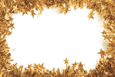 Christmas Gold Tinsel as a border isolated against a white background