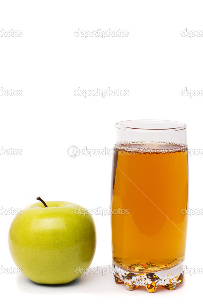 Glass Of Apple Juice And Green Apples Isolated On White Stock Photo
