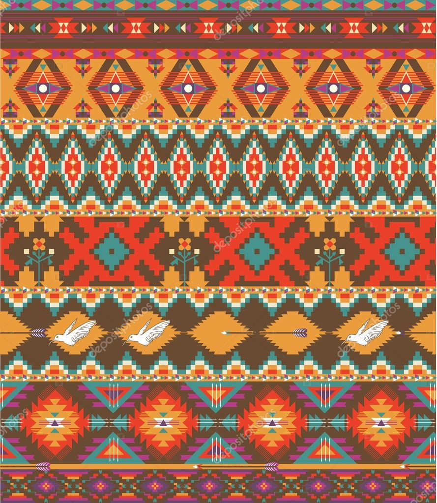 Seamless Colorful Aztec Pattern Stock Vector 169 To Mua To