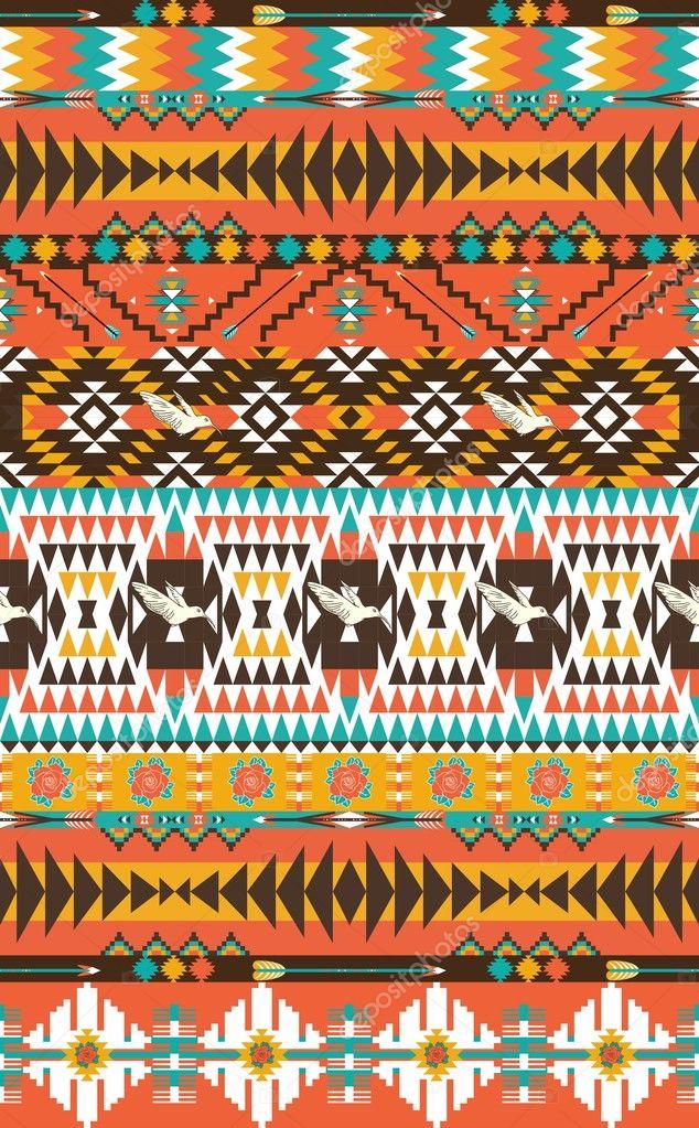 Aztecas Patrón Transparente En Color Caliente Con Aves Y Flores