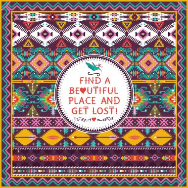 Hipster seamless aztec pattern with geometric elements and quote