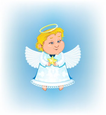 Cute angel with Christmas star