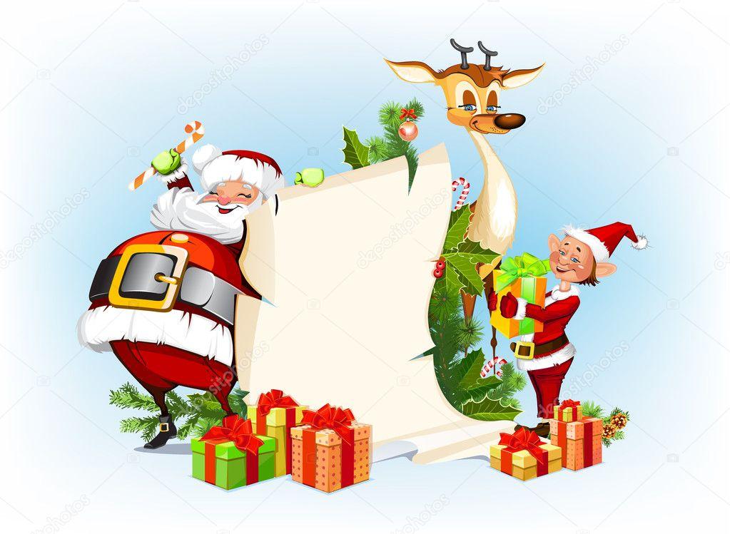 Renne Babbo Natale.Sfondo Con Renne Babbo Natale E Suoi Elfi Vettoriali Stock