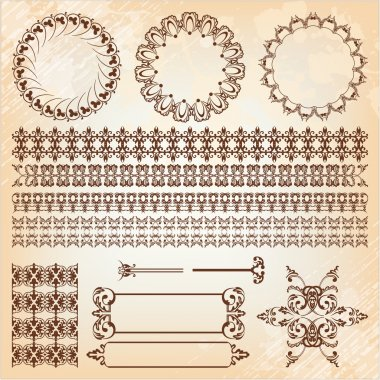 set of abstract baroque pattern