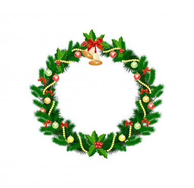 Christmas wreath with baubles and christmas tree