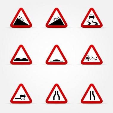 set of warnings road signs