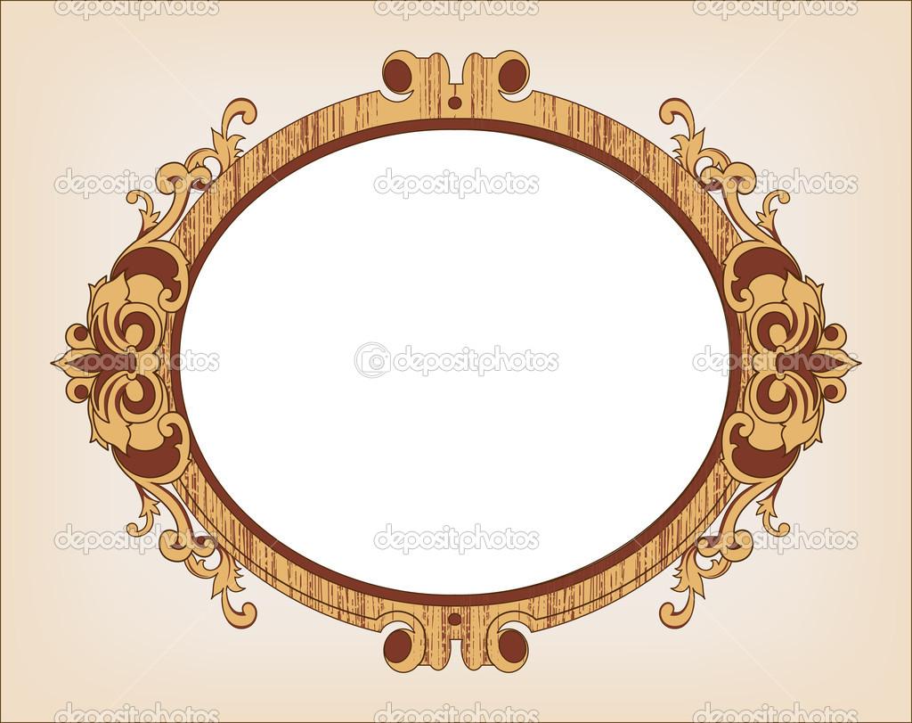 marco decorativo de vendimia oval — Archivo Imágenes Vectoriales ...