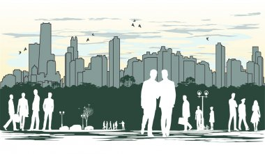 outline silhouette of the city with crowd of