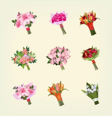Set of many bouquets of flowers stock vector