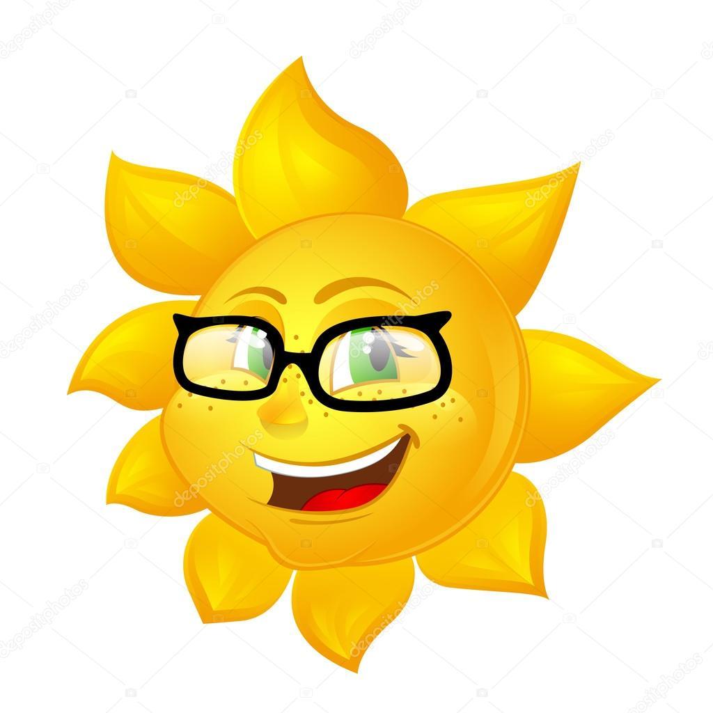 7d6c436eb46b Умный мультфильм солнце в очках — Векторное изображение ...