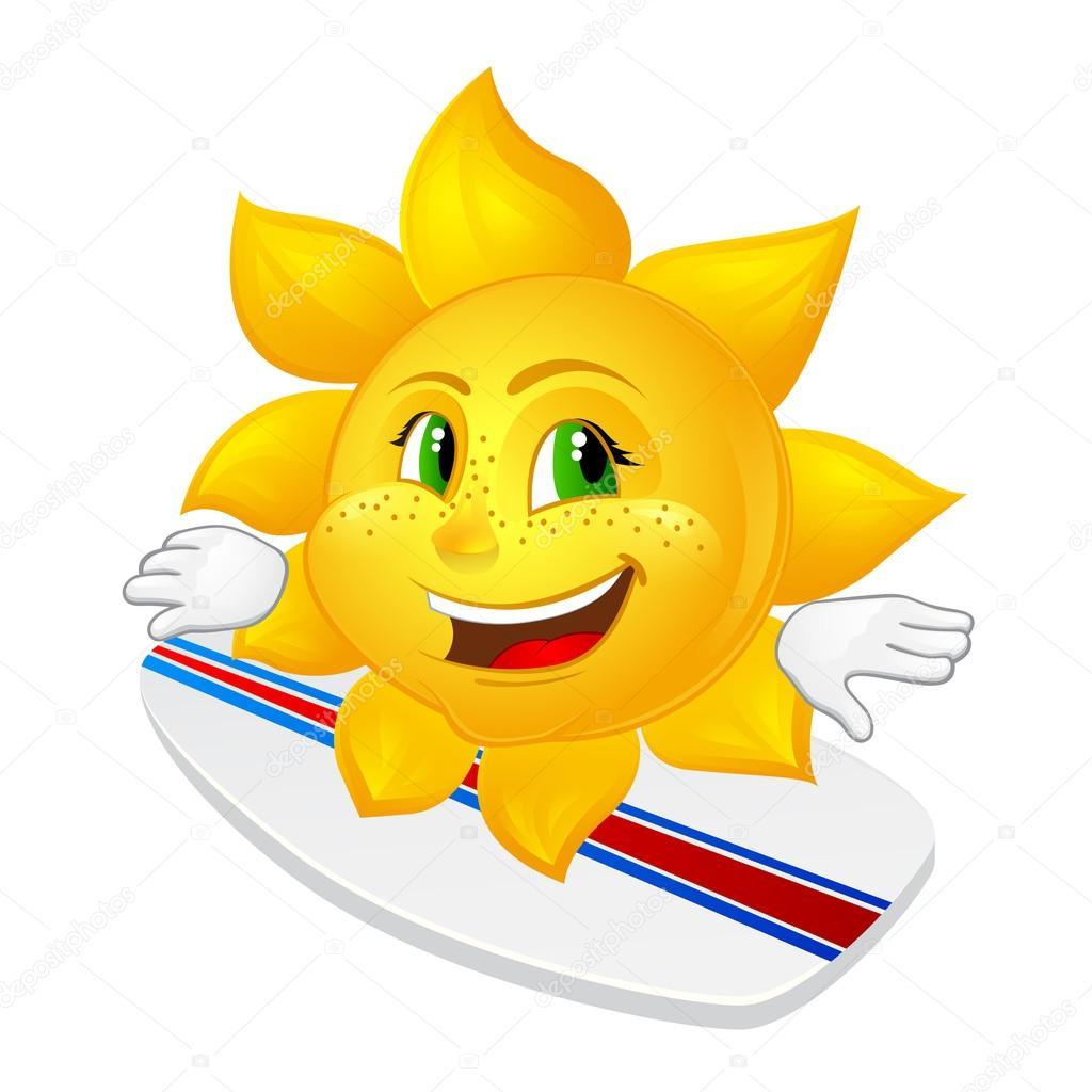 Sole di cartone animato con le lentiggini sulla tavola da
